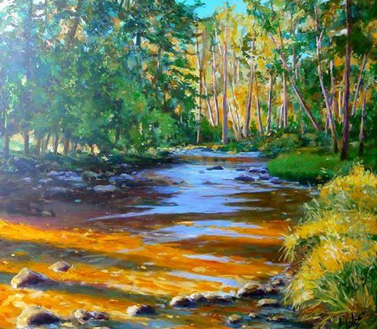 río Eresma, Acrílico de Juan Ramón Ávalos