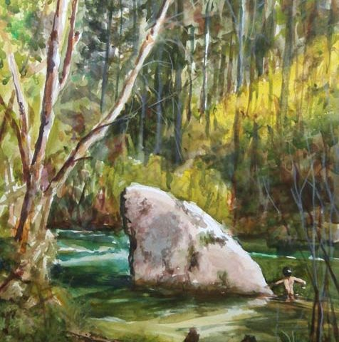 Baño en el Río. Acuarela de Juan Ramón Ávalos