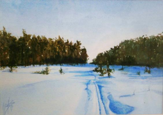 acuarela-juan-ramon-avalos-camino-en-la-nieve