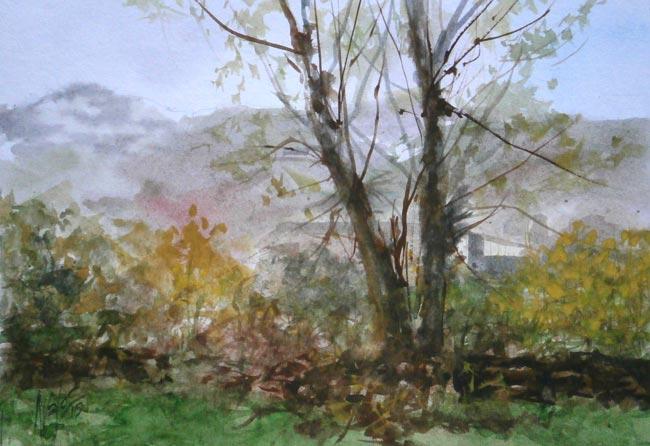 Trabajo en Acuarela. Dos Chopos. Artista: Juan Ramón Ávalos