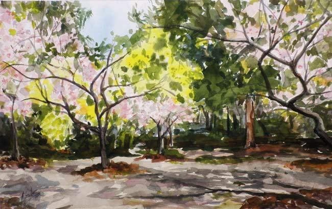 En el Parque. Acuarela de Juan Ramón Ávalos