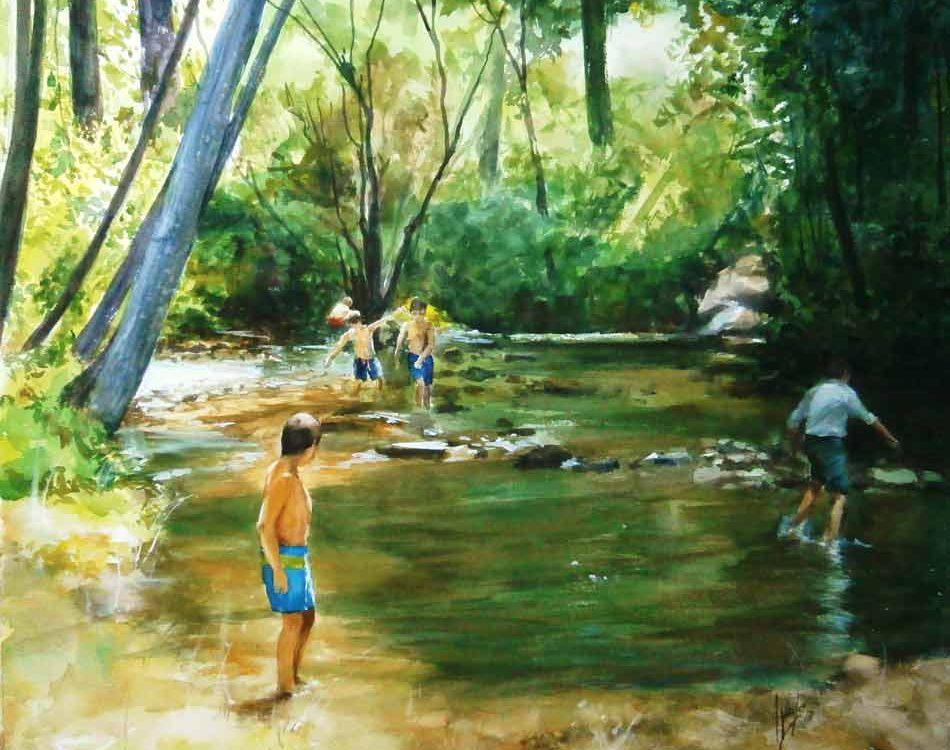 acuarela-juan-ramon-avalos-juegos-en-el-rio