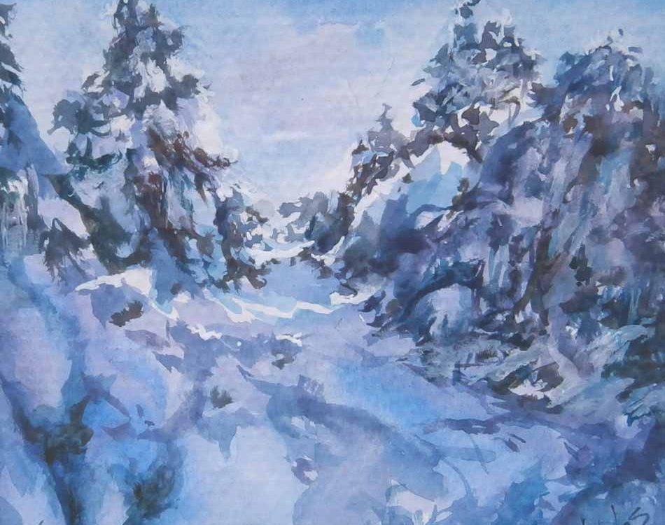 acuarela-juan-ramon-avalos-la-nieve-entre-los-pinos