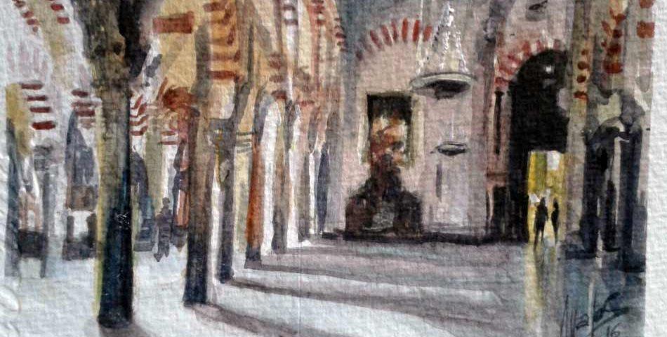 acuarela-juan-ramon-avalos-mezquita-de-cordoba